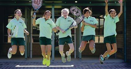 Jump for joy: Natasha Camer-Pesc (Y5), Cheryl Chou (Y6), Ruby Brennan (Y6), Yasmin Hosseini (Y6) and Alyssa Caswell (Y5). Picture: Martin Kennealey www.communitypix.com.au d398687
