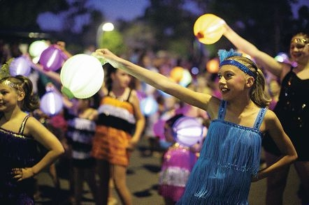 Hundreds of school children took part in the twilight lantern parade.