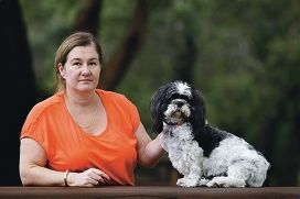Michelle Lanigan with her new dog Caesar, and Pippa (below).
