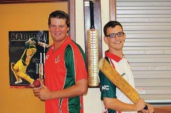 Warwick Greenwood CC vice-president Xavier Deering and A-grade batsman Lachlan Shakeshaft.