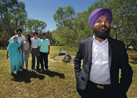 Harjit Singh (foreground) with Lakhbir and Sukhjit Kaur and Tarunpreet, Paramjit and Gurseerat Singh acknowledge the past and present contributions of WA Sikhs to the State.|Picture: Elle Borgwardd3967