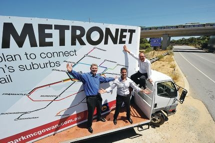 State Labor MPs Ken Travers, Paul Papalia and David Templeman promote the party's Metronet pledge.