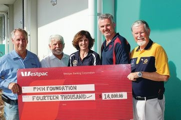 Phil Brown, from Mandurah Districts Rotary Club, Frank Wheel, from Mandurah City Rotary Club, Michelle Pritchard, from Mandurah Rotary Club, Tony Free, from Mandurah Centrals Junior Football Club, and Colin Gilbert, from Mandurah City Rotary Club.