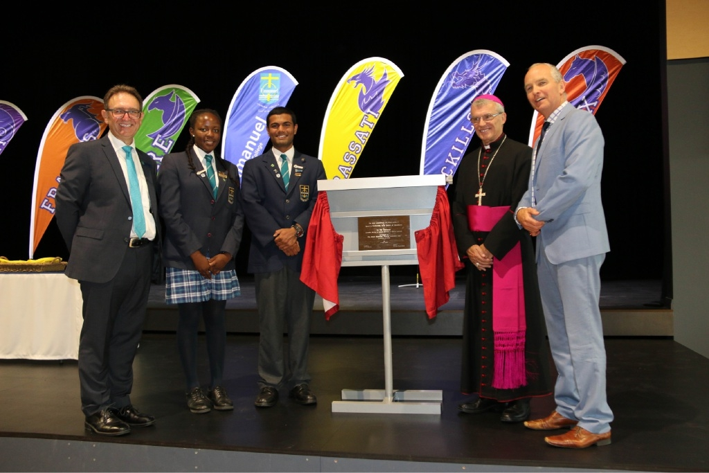 L-R: Principal Leo Di Gregorio, College captains Atidaishe Mugwara and Antonio Joboy, The Most Reverend Timothy Costelloe Archbishop of Perth and Dr Tim McDonald.