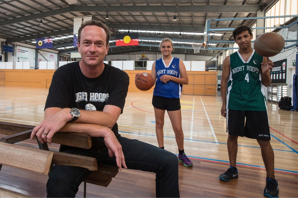 Horizon looking bright: Griffin Longley with Night Hoops program leaders Troy Kelly and Pricilla Kelly.Picture: Will Russell www.communitypix.com.au   d447543
