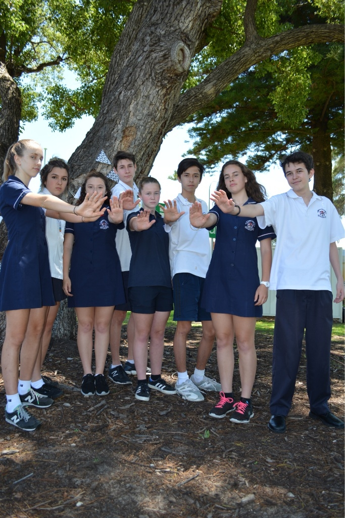 Mt Lawley SHS students McLane Catterall, Lauren McDonald, Mandu Mazalevskis, Nel |Arseven, Isobel Mountain, Millie Lee, Jamie Smith and Maya Fernandez show their support for the Youth Say No! campaign.