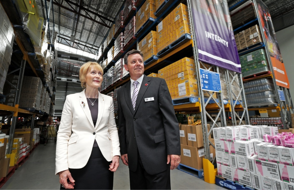 WA Governor General Kerry Sanderson with Foodback WA chief executive Greg Hebble at Foodbank's Belmont warehouse. Picture: David Baylis www.communitypix.com.au   d446275