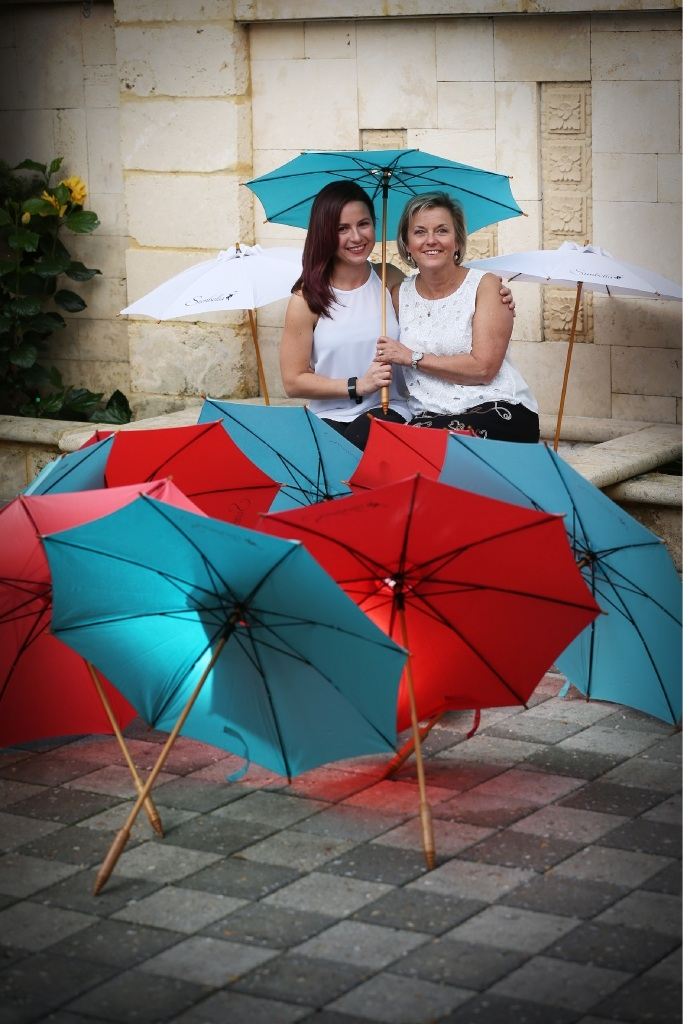 Casey Bryden and Jillian Intini... sales of Sunbella parasols surged after one was used by the Duchess of Cornwall.   d441151