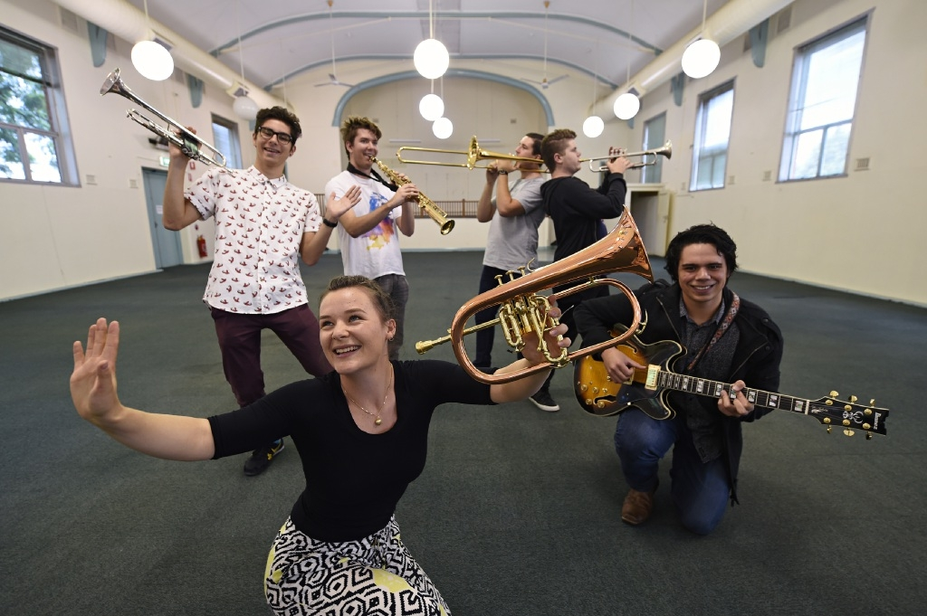 WA Youth Jazz Orchestra musician  Jess Herbert (foreground:) with, from left, Jack Sirett, Tim Newhouse, James van de Ven, Matt Smith and Malachi George.         |       d436991
