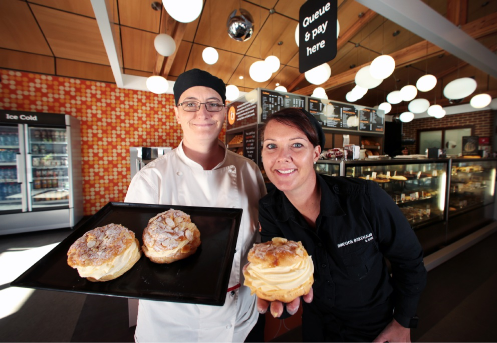 Culinary Arts director Anne Maree Hagge and Bindoon Bakehaus and Cafe managing director Leanne Phillipson.  Picture: David Baylis        d453975