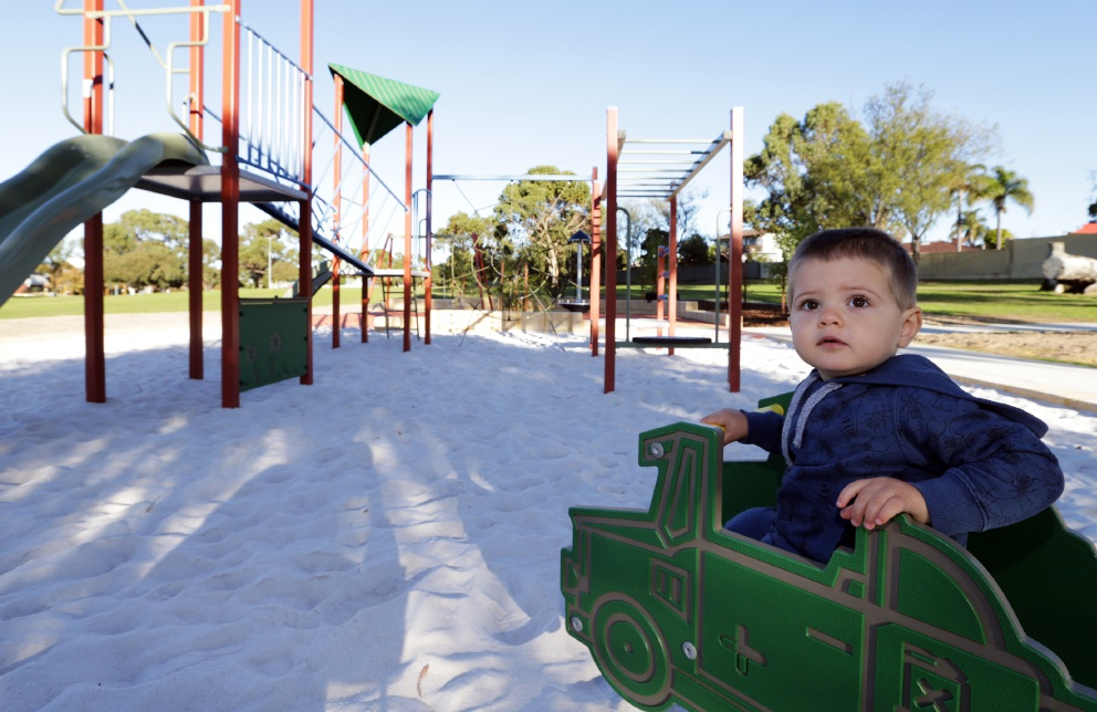 Hamish McLea gives the new play equipment a trial run. Picture: Martin Kennealey www.communitypix.com.au   d454113
