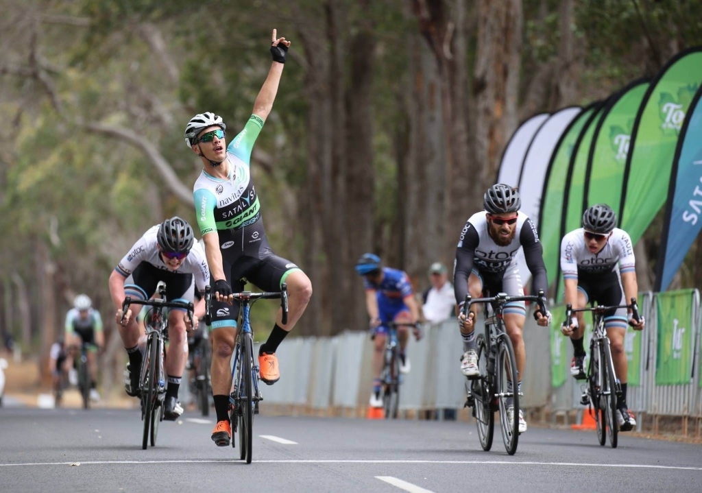 Theo Yates takes the win on stage four. Picture: Todd Elliot