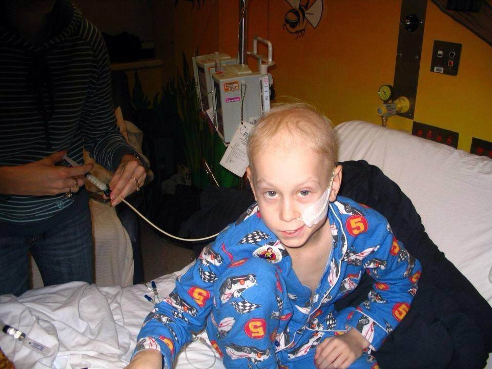 A young Kade Power fighting cancer. Right: Kade Power in action.  Picture: Lauren Pilat