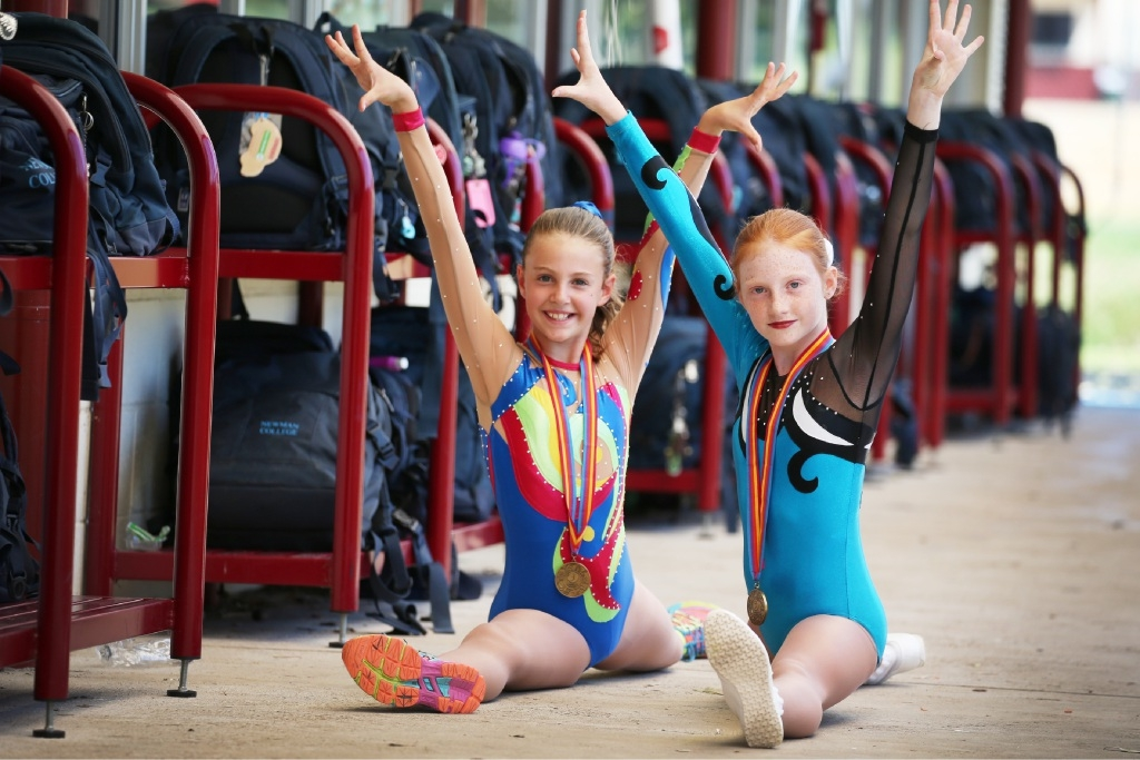 Kaila Bogdanov and Elissa Campbell won gold medals at the recent National Aerobic Championships. Pic Andrew Ritchie.