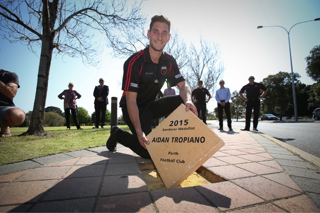 Aidan Tropiano was honoured to win the Sandover Medal and celebrated his 23rd birthday on the same day. Picture: Andrew Ritchie  www.communitypix.com.au   d444093