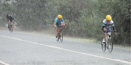 Wind, rain and hail plague brave riders