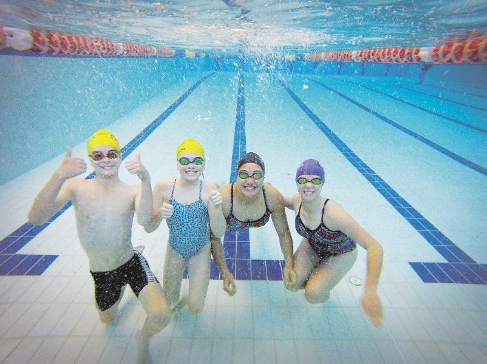 Daniel Ashby, Eliza Hodder, Shinae Watene and Kasie Smith from The Breakers Swim Club, which is about to start its new swim development program in Balga. d442850
