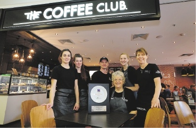 Coffee Club staff Alice Greenwood, Abbey Fisher, Paul Johnson, Colleen Kane, Sophie Hellemans and Sandy Blockey. Picture: Martin Kennealey            d443045