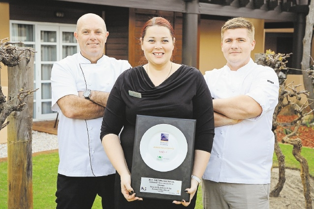 Muscats Restaurant executive chef Mark Ford, restaurant manager Sarah Fry and chef de cuisine Rhys Mann with their Best Restaurant in a Licensed Venue award.