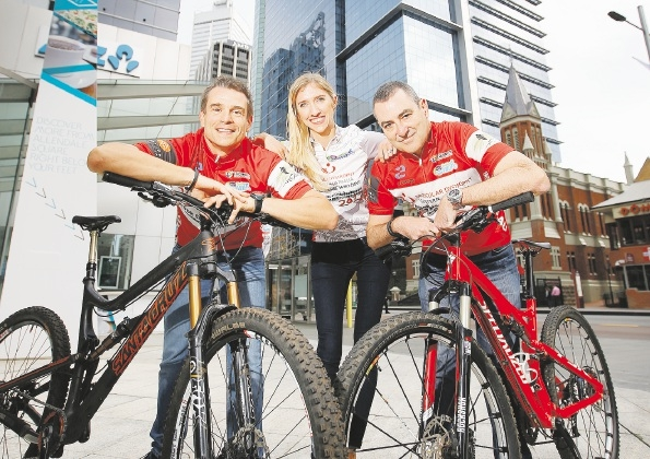Fred Aube, Heide Young and Wayne Millen are looking forward to the challenge of the Dwellingup100 mountain bike ride.  Picture: Andrew Ritchie        www.communitypix.com.au   d442550