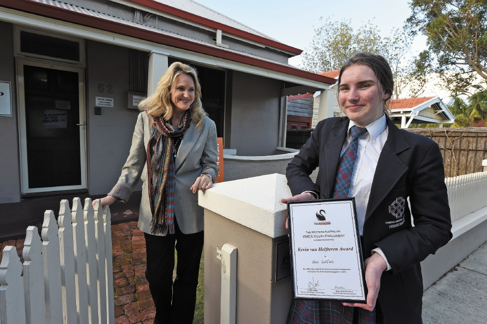 Fremantle MP Melissa Parke and 15-year-old North Lake resident Neve Guilfoile.Picture: Jon Hewson        www.communitypix.com.au   d442680
