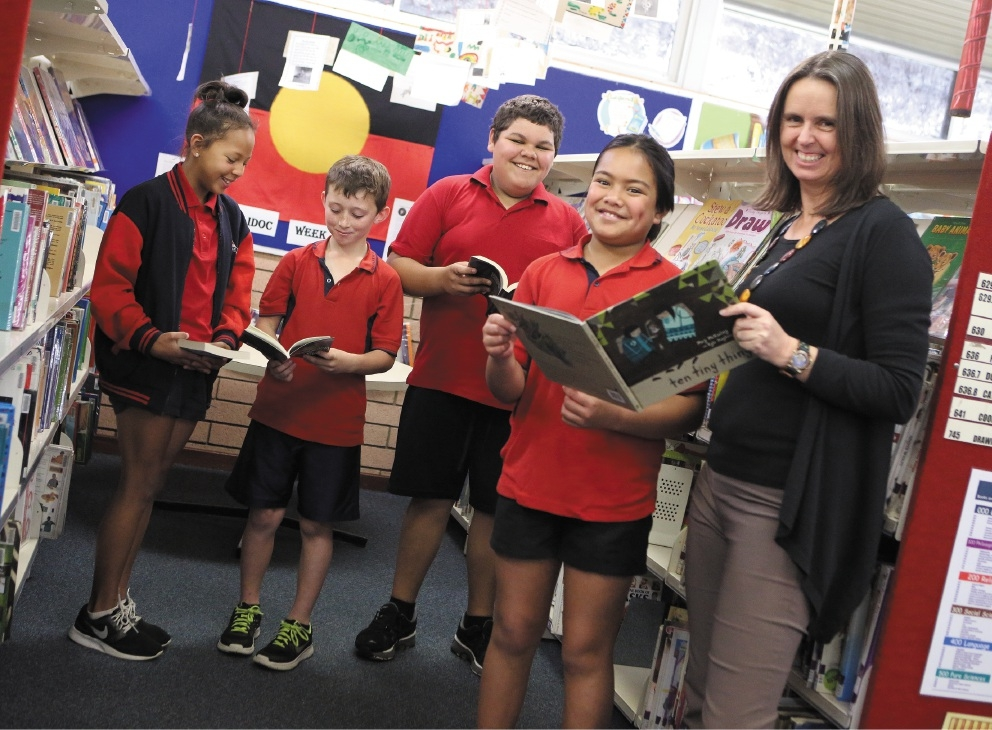 Kallyn De Beer, Jacob Roberts, James Cameron and Marise Anderson with author Meg McKinlay at South Lake Primary School Library for Book Week.        Picture: Matt Jelonek d442690