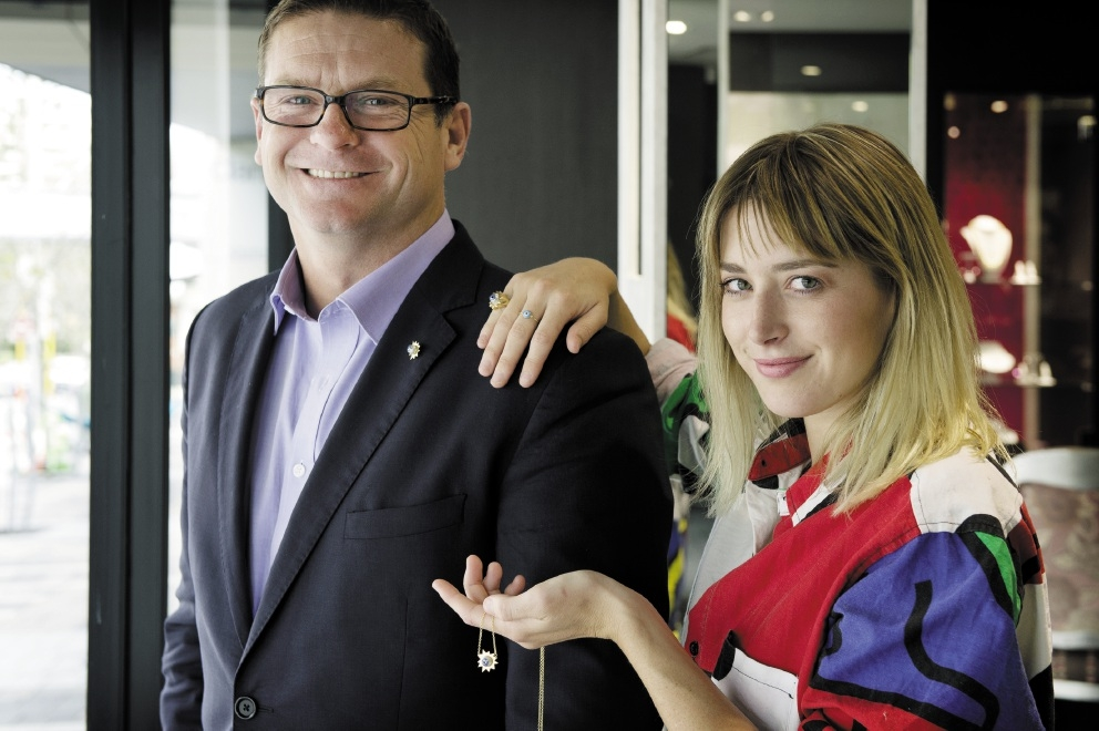 Pierre Fallourd and Poppy Lissiman with an Eye See You pearl collection piece. Picture: Jody D'Arcy