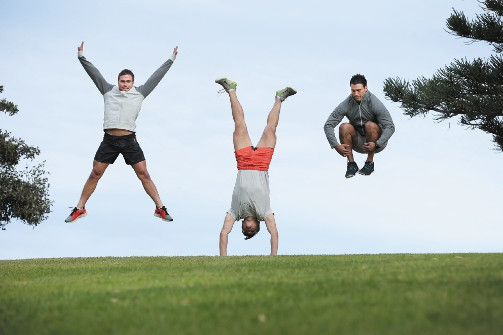 Personal trainers Sam Ledger, Kieran Maguire and Lloyd Johnson showcase the new active wear range.Picture: Andrew Ritchie www.communitypix.com.au   d442809