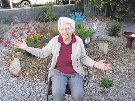 Jean Hall loves her garden, set up by the Volunteer Task Force.