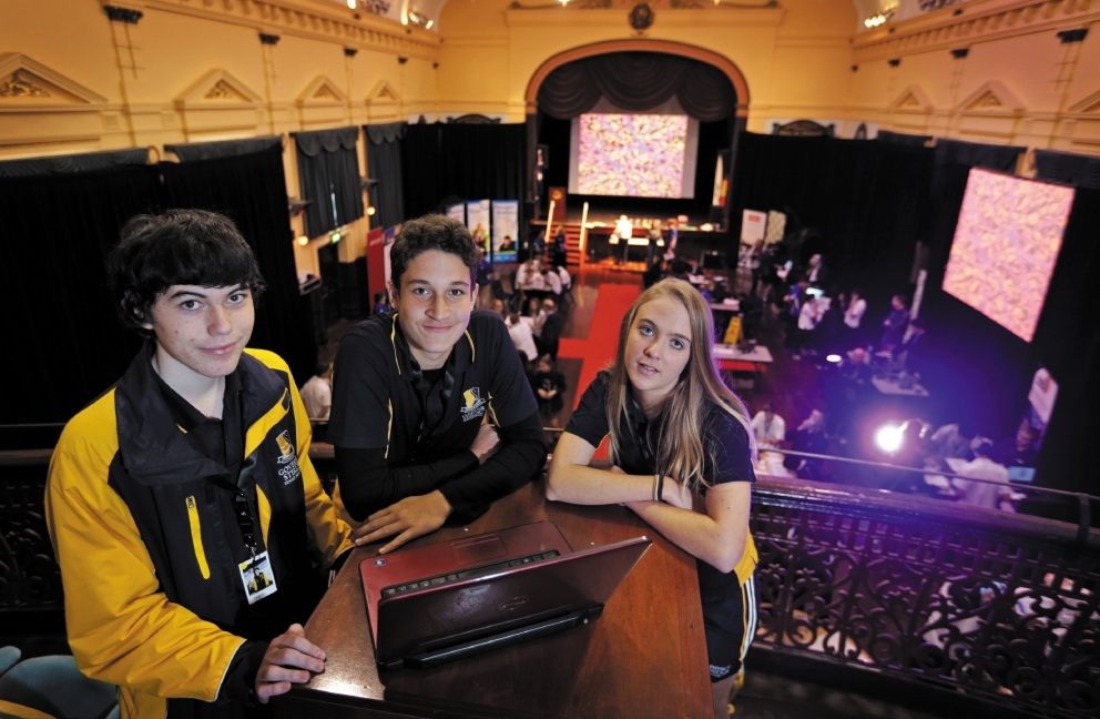 Governor Stirling Senior High School students Reece Jones, Ismar Kumbara and Kaitlin Clark took part in the hackathon. Picture: David Baylis        d442569