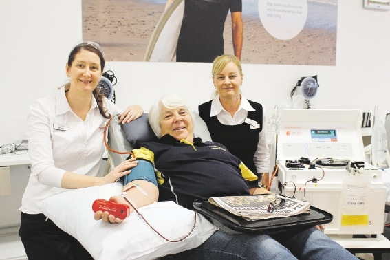 Julie Maloney, of Sorrento, was one of the first to donate at the rebranded Edgewater Blood Donor Centre, with the help of nurses Maria O'Melia and Darlene Hall.