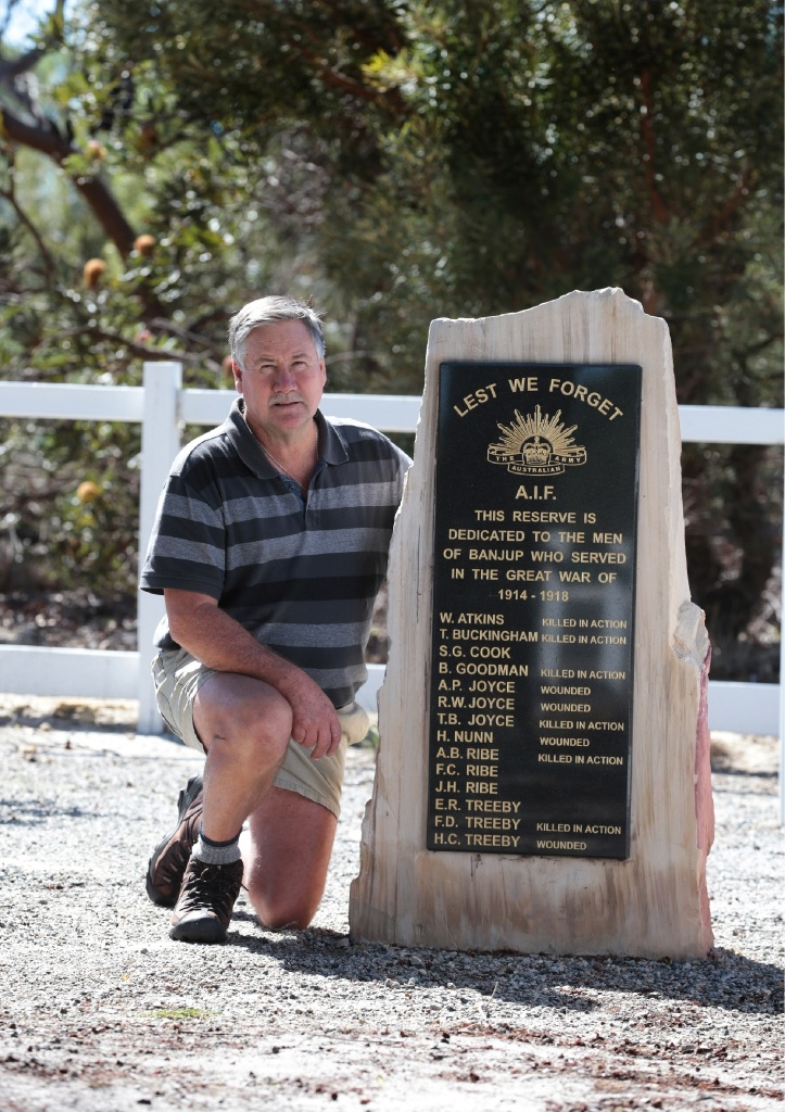 Steve Treeby at the Banjup memorial, which features the names of three of his family members.       Picture: Martin Kennealey    d436420