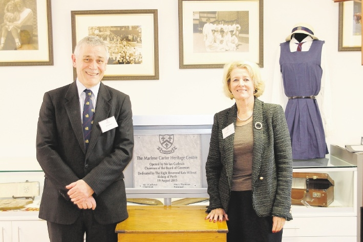 St Mary's chairman of the board of governors Ian Curlewis and former student Marlene Carter at the opening of the new heritage centre, named in Mrs Carter's honour.
