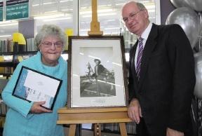 Winner June Allbeury with Mayor Phil Marks.