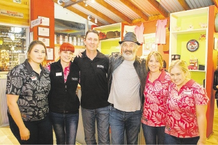 John Jarratt (third from the right) with cafe staff Holly Daly, Michelle Queen, Glenn Sell, Kelly Sell and Michelle Mader.