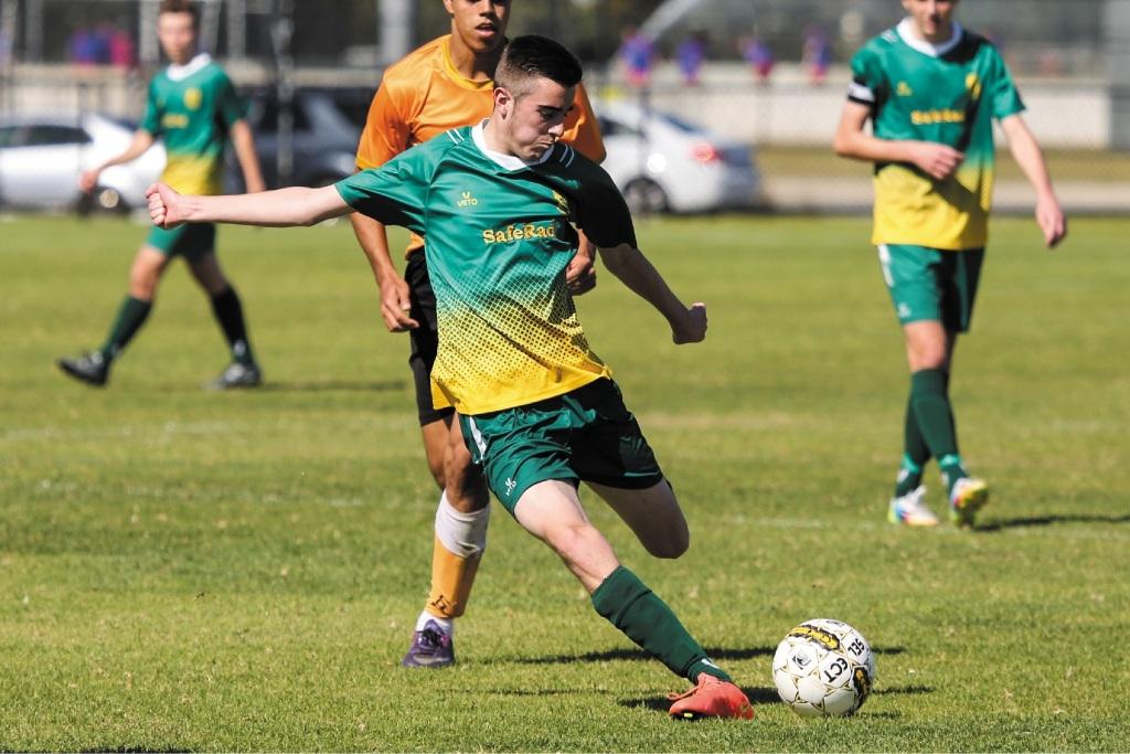 Callum Ribbans scored twice for Rockingham City under-18s. Picture: Michael Parr