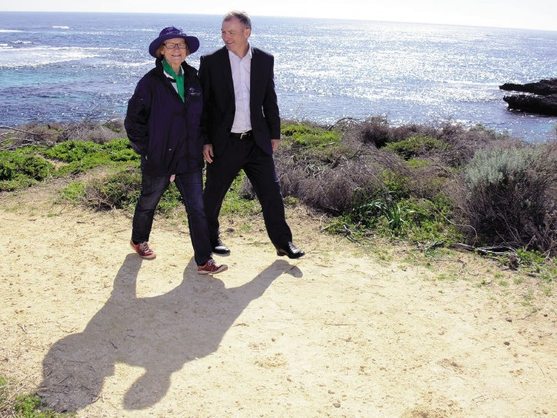Rottnest Foundation co-founder Pat Barblett and Tourism Minister Kim Hames walk part of the Wadjemup walk trail. Below: Janet Hayden says more work is needed to repair the island's use of an Aboriginal prison.Pictures: Jon Bassett