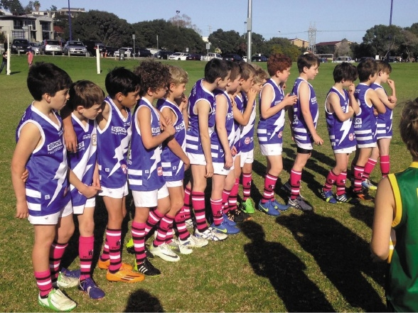 East Fremantle Junior Football Club's Year 4 players donned the pink socks to help raise money for the McGrath Foundation