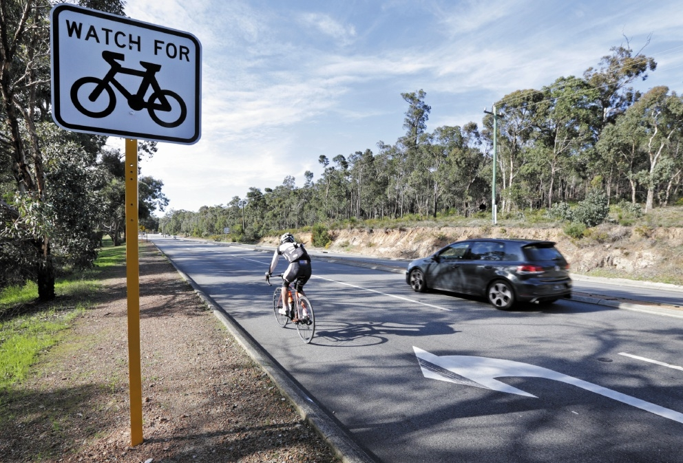A UWA study has found the junction of Welshpool Road and Lesmurdie Road was the worst blackspot in Perth for cycling accidents. Picture: David Baylis d441699