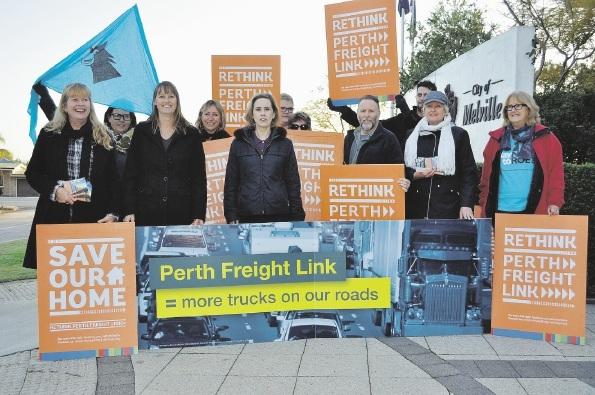 Fremantle MLA Simone McGurk (centre) with Rethink Perth Freight Link protestors outside the Melville Cockburn Chamber of Commerce breakfast where Mr Nalder was speaking last Wednesday.
