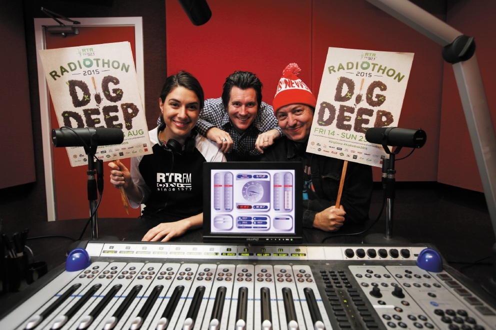 RTRFM's Caitlin Nienaber, Jason Cleary and Peter Barr get behind the station's Radiothon fundraiser. Picture: Andrew Ritchie                                          www.communitypix.com.au   d442193