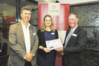 Professor Benjamin Reilly, Dean of Murdoch University's School of Public Policy and International Affairs, scholarship winner Claire Smith and former Murdoch University vice-chancellor Mal Nairn.