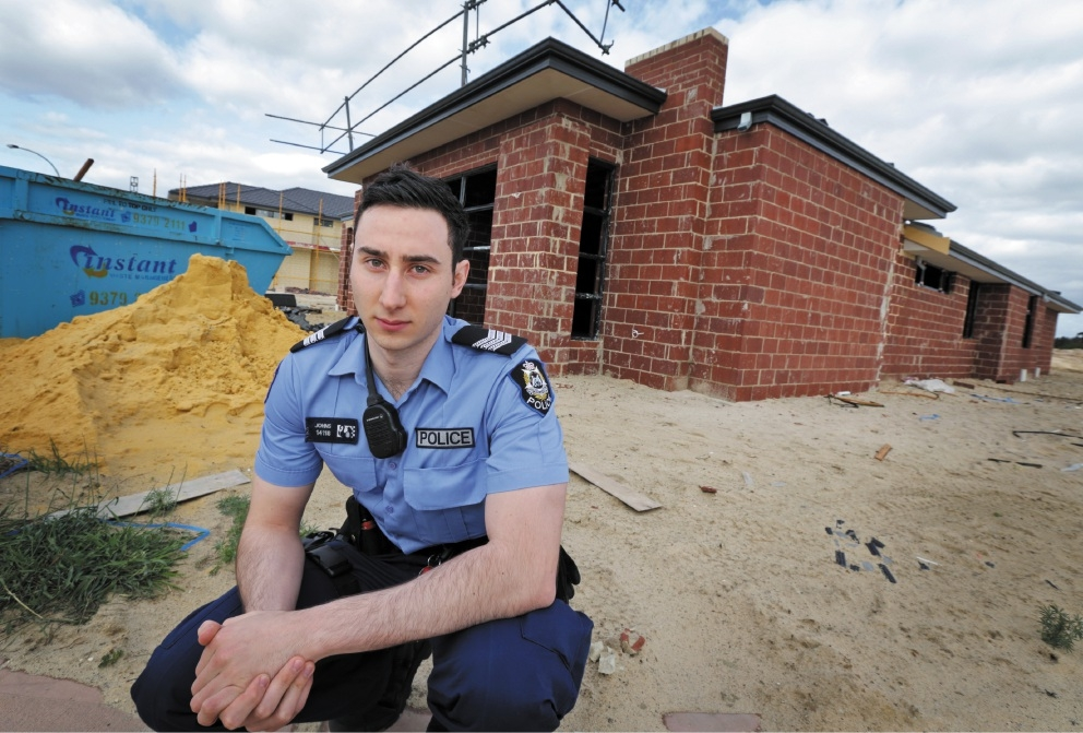 First Class Constable Chris Johns from the Midland Local Policing Team at a building site.Picture: David Baylis        d442040