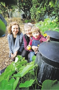 Environment House co-ordinator Rachael Roberts, volunteer Glenys Davies and her granddaughter Charlotte Knox Bolleter. Picture: David Baylis          d441752