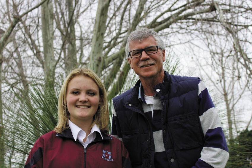 Swiss exchange student Michele Schubiger with Rotary Willetton president Simon Cubitt.