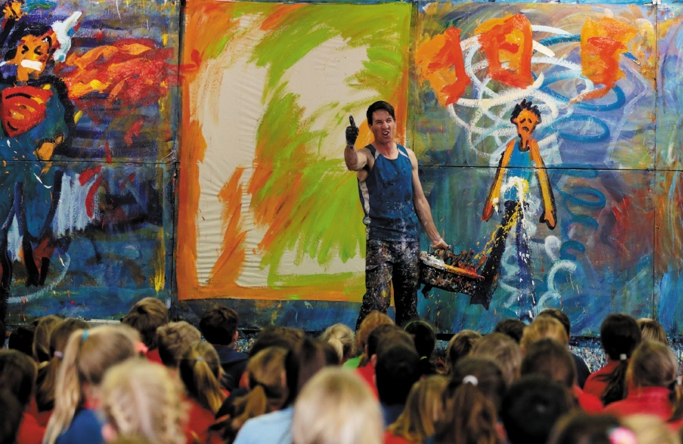 Phil Doncon during his Paint Storm performance. Picture: Martin Kennealey d442032