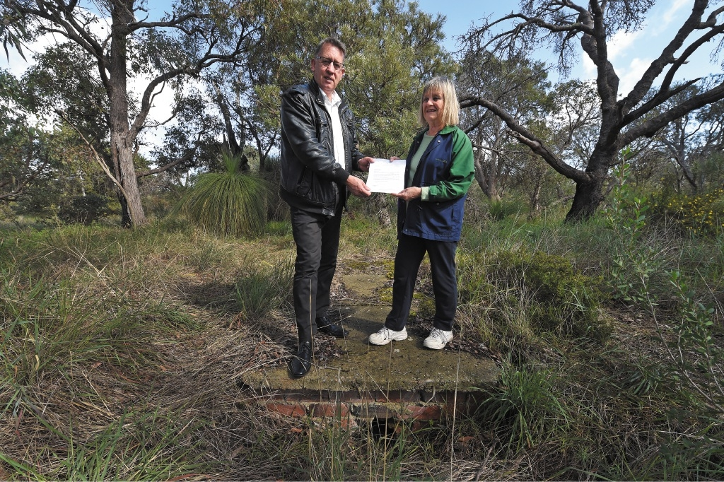 Cockburn councillor Phil Eva and Christine Cooper at the former army camp site.Picture: Jon Hewson www.communitypix.com.au                                                d441970