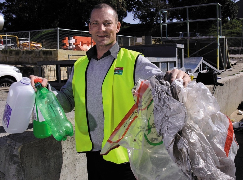 Perth Waste south branch manager Dean Wells with the |different types of plastics that the facility can recycle.  Picture: Jon Bassett
