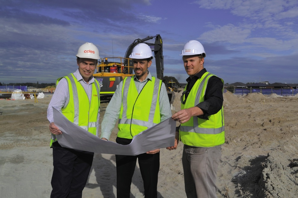 Coles retail leasing manager WA Gordon Smith, Western Corporate project manager Rod Dixon and FOCUS director Shaun Hughes.