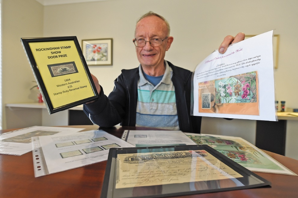 Stamp collecting enthusiast John Sutton. d441779